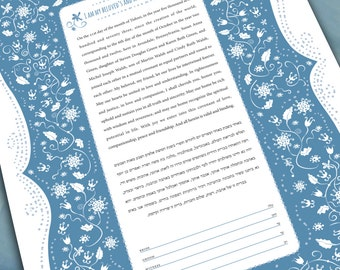 Ketubah - Love and flowers in blue