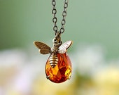 Honey Bee Necklace Bee Jewelry Bumble Bee Necklace Gift for Her Bee Keeper Bee Lover Gift November Birthstone Christmas Gift Topaz Pendant