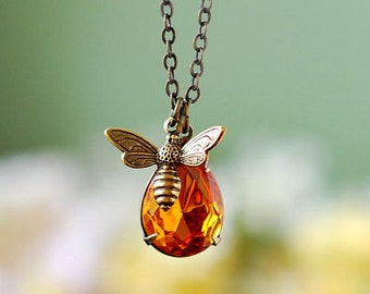 Bee Necklace, Honey Bee Bumble Bee Jewelry, Gift for Bee Lover, November Birthstone, Topaz Pendant, Spring Summer Jewelry, Graduation Gift