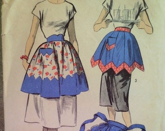 Vintage Advance 5883 Sewing Pattern, 1950s Apron Pattern, Scalloped Apron, INCOMPLETE,  1950s Sewing Pattern, Waist 28 to 30, Vintage Sewing