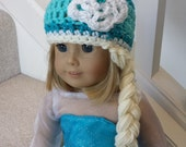 """Frozen Inspired Elsa Snow Queen Hat with Braid - Made to Fit American Girl and 18"""" Dolls - 97"""