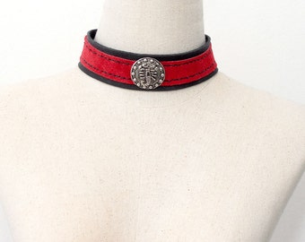 Leather choker collar necklace Red and black Scorpion symbol collar choker necklace Sexy BDSM Rock Star Goth genuine leather One Of a Kind