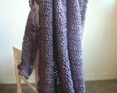Super Soft Violet Blanket, Throw Blanket, Purple Crochet Blanket, Crochet Throw