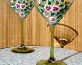 Hand Painted Martini Glasses With Flowers And Beaded Wine Charms, Mother's Day Gift, Gifts For Her, Birthday Gifts