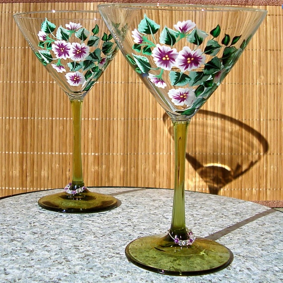Hand Painted Martini Glasses With Flowers And By