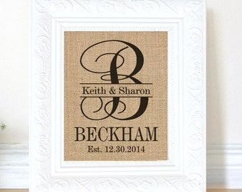 Personalized Burlap Print - Wedding Gift - Anniversary - Engagement Gift