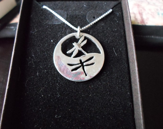 Reflection necklace two dragonflies quarter size w/sterling silver chain