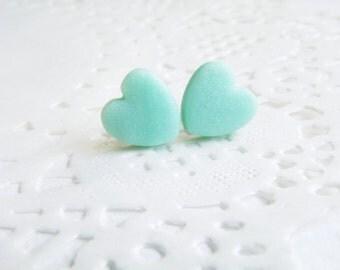 Matte stud earrings Mint heart studs Blue mint heart stud earrings Mint souffle Small earrings Petite stud Heart earrings Mint Post earrings