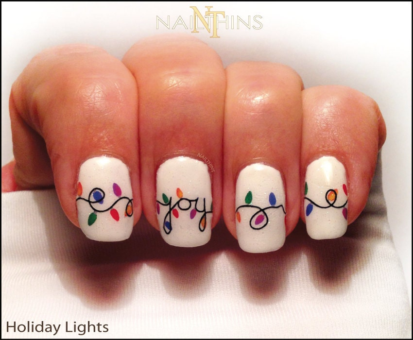 Today live sports christmas lights nail decal holiday joy noel christmas lights nail decal holiday joy noel nail art by nailthins prinsesfo Image collections