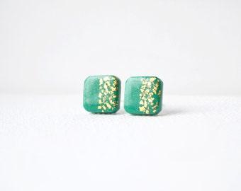 Square studs Green stud earrings geometric studs teal green post earrings gold and green studs malachite green post stud minimalist earrings