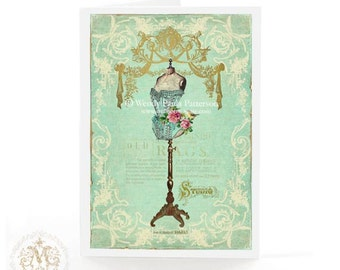 French Mannequin card, French corset, vintage dress form, Paris fashion, birthday card, all occasion card