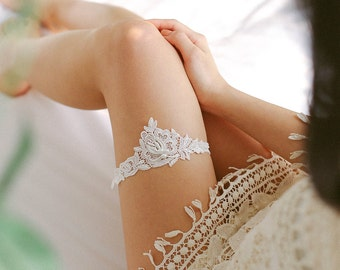 Lace wedding garter with pearls, bridal gift - style #504