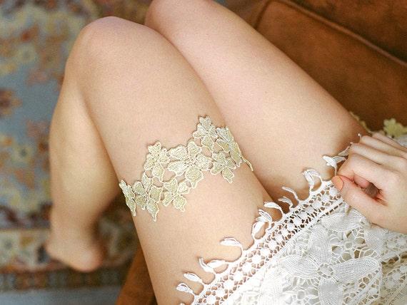 Gold wedding garter, Lace garter, golden garter, wedding garter belt  - style #479