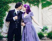 Victorian Lilac Lace Wedding Dress with Cap Sleeves Custom Handmade to your Measurements by Award Winning Bridal Salon