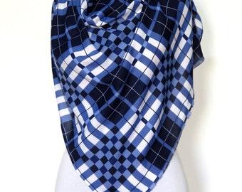 In Stock Plaid blanket scarf blanket scarves plaid scarves oversized Blue White scarf knit scarves gifts under 30