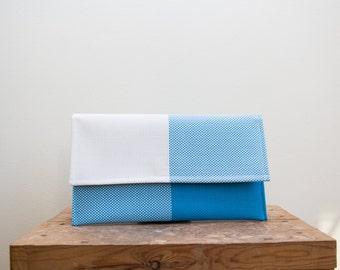 Blue Evening Clutch, Minimalist Clutch, Plain Blue Bag, Summer Bag, Vinyl Clutch, White Blue clutch, White Clutch bag, Wedding clutch bag