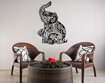 Elephant Wall Decal Etsy - wall design vinyl stickers