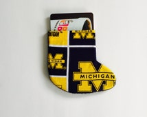 University of Michigan fabric Gift card holder Ornament in shape of stocking Blue and Maize