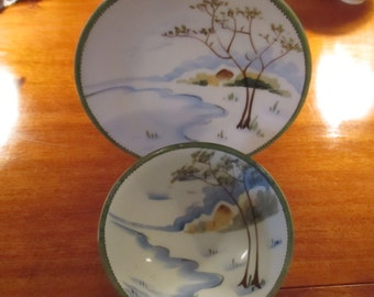 Vintage Nippon Hand Painted Porcelain Dish Plate Bowl Footed Decorative Bowl  Asian Decor Winter Snow Scene YourFineHouse ShipsWorldwide