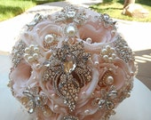 CUSTOM ORDER - Blush Pink and White Bridal Brooch Bouquet and Four all Blush Pink Bridesmaids Bouquets in Designs as Pictures, DEPOSIT