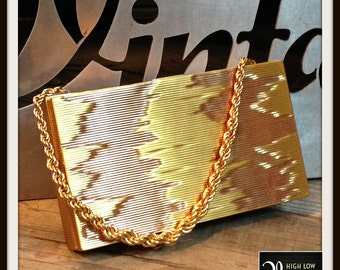 Vintage Gold Silver Bronze Ombre Handbag Bag Purse Minaudière by Evans FREE SHIPPING