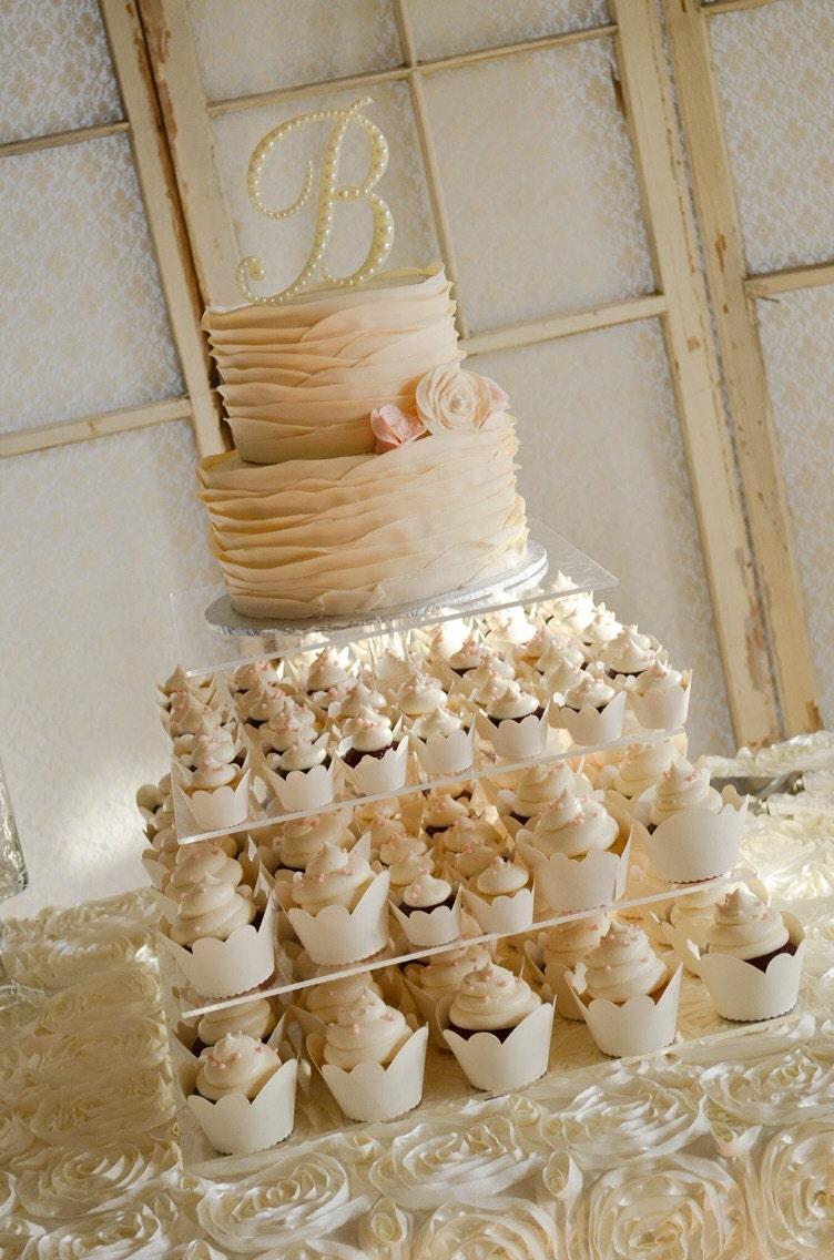 5 pearl wedding cake topper monogram cake topper