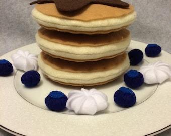 Felt Blueberry Pancake Set, Play Food, Felt Food, Pretend Play