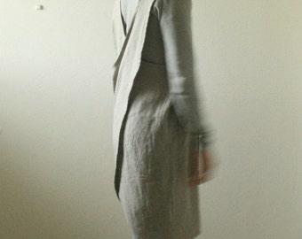 NATURAL LINEN PINAFORE / linen dress / women linen clothing / cafe apron / criss cross / smock / tunic / australia / organic / pamelatang