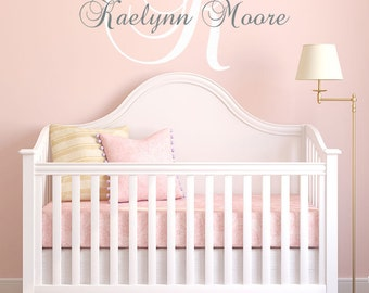 Baby Girl Nursery Wall Decal Personalized Monogram Name and Vinyl Lettering Children's Bedroom Wall Decal