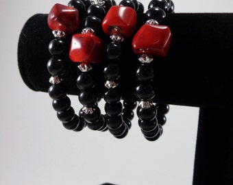 Obsidian and Coral Bracelet / Red and Black Bracelet / Luck and Happiness / Protection/ Talisman/ Bracelet