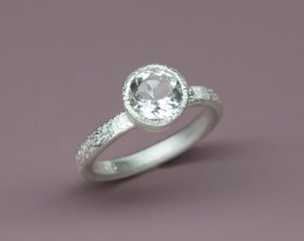 1.5ct White Topaz Ring in sterling silver, 1.5ct Engagement ring, Wedding ring, Handmade silver jewerly, Made to order, Gift for her