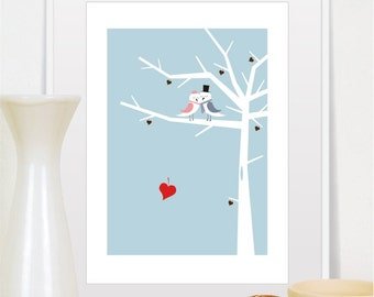 Wedding Gift, Wedding Print, Birds on Tree, Newly Weds Gift, For Couple, Love Poster, Love Print, Love Decor, Heart Print, Birds Print, Gift