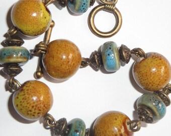 Yellow Mustard Bracelet Blue Green Earthy Bracelet Ceramic Bracelet Beeadwork Boho Bracelet Jewelry