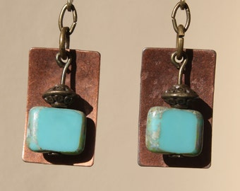 Turquoise Blue Earrings Copper Earrings Dangle Earrings Blue Czech Glass Earrings Jewelry Boho Chic Small Earrings