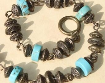 Turquoise Bracelet Beadwork Beaded Stone Bracelet Boho Chic Bracelet Rustic Brass Bracelet Brass Turquoise Boho Jewelry