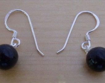 925 Sterling Silver Black Ball Drop Dangling Earrings