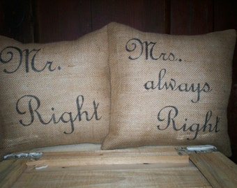 "Shabby Pair 12""x12"" Mr. & Mrs.Right Pillow Covers"