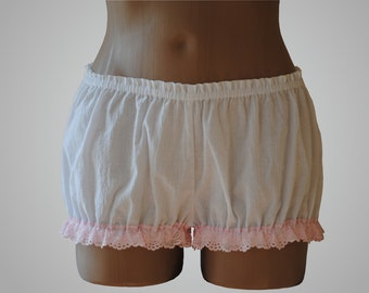 White Bloomers with Pink Lace Cotton Handmade
