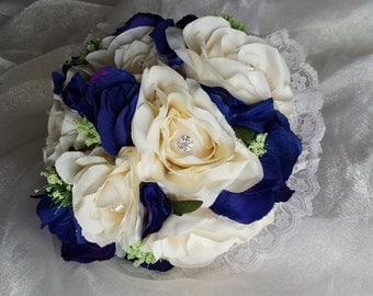 Beautiful Vintage Inspired Bridesmaids Wedding Bouquet in Large Ivory Roses, Blue Hydrangea & Ivory Trachelium, Lace Collar and Ribbon