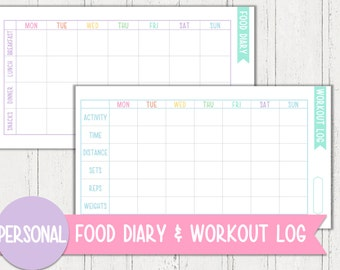 Personal Food Diary & Workout Log Planner Printable | Pastel Series | Instant Download PDF