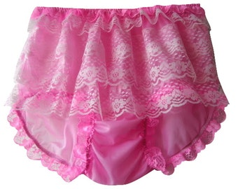 S8H1 PINK  Lace Ruffle Rumba Frilly Handmade Briefs Panties Sheer Nylon Knickers Underwear  Lingeries