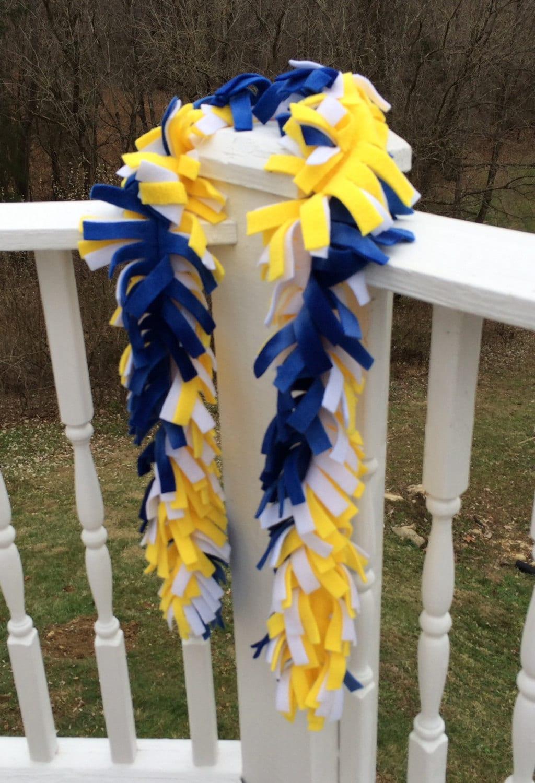 Yellow White Amp Blue Fringed Fleece Scarf School Spirit Scarf