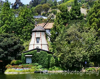 Windmill,Photography California Landscape, Lake Shrine Temple, Pacific Palisades