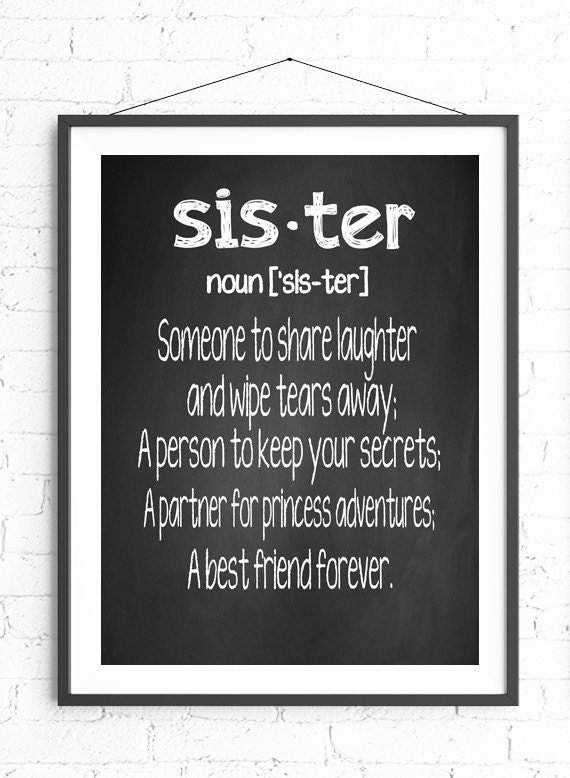 Definition Of Wall Decoration : Sister definition wall art chalkboard print gift for