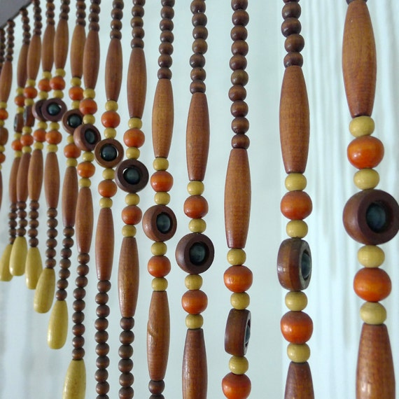 Vintage Beaded Curtain Wood Beads Room Divider Bead Door