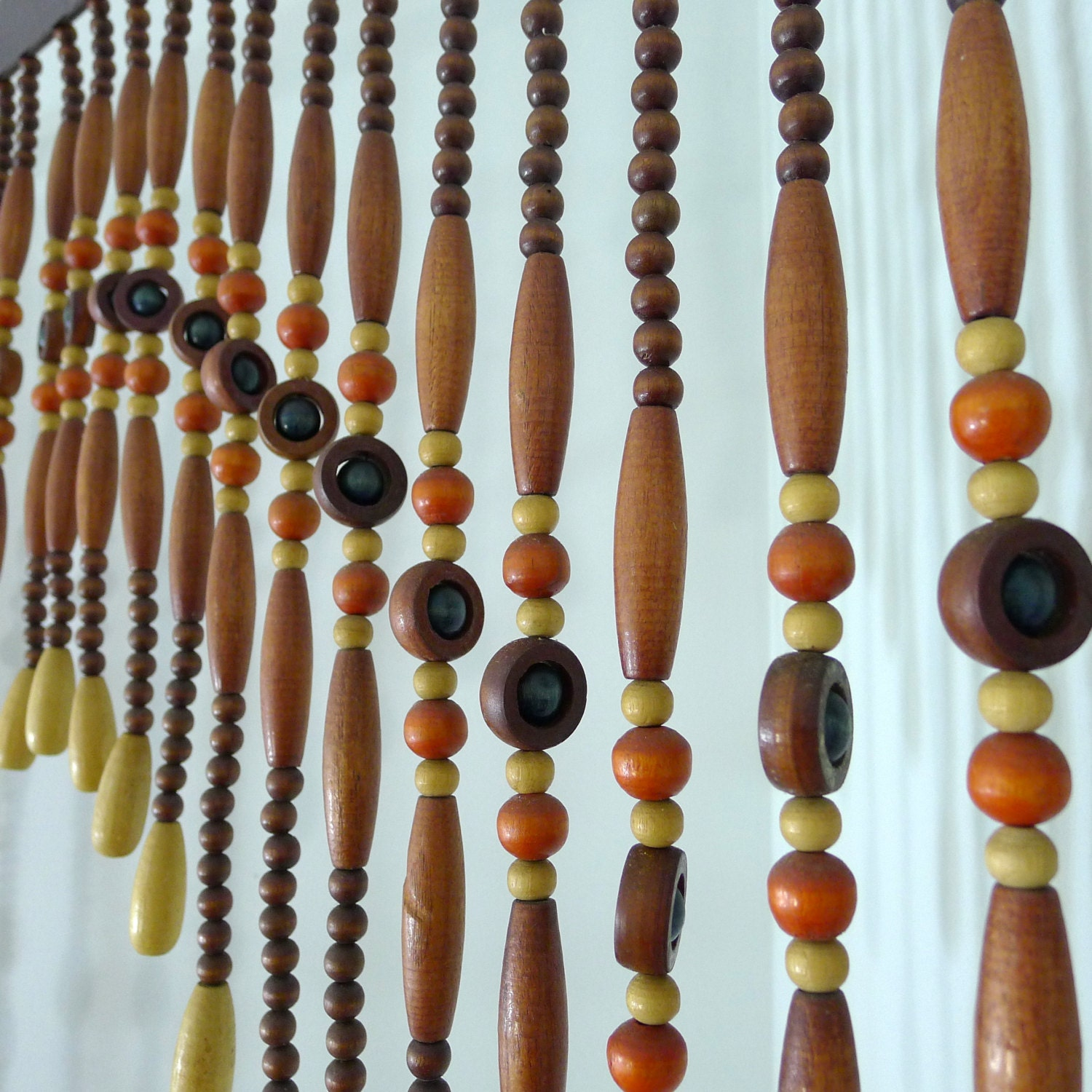 Vintage Beaded Curtain Wood Beads Room Divider Bead by AgedNicely