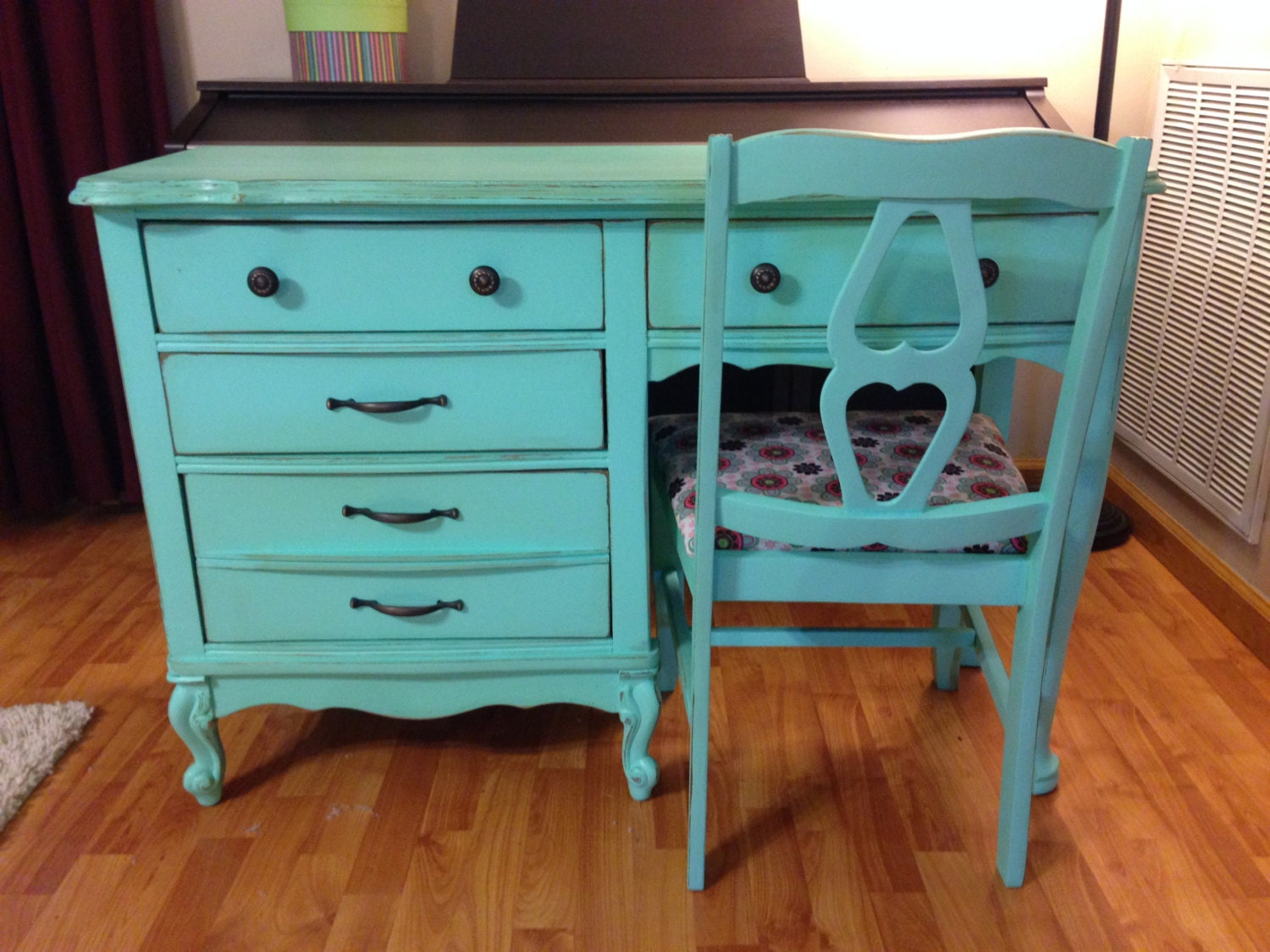 Mint Vanity Desk & Chair shabby chic painted distressed