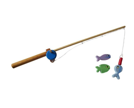 Wooden fishing pole toy by papadonswoodentoys on etsy for Wooden fishing pole
