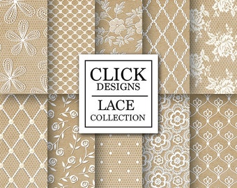 """Lace Digital Paper: """"LACE KRAFT PAPERS"""" scrapbook papers with vintage white lace roses & elements on craft papers for wedding invites, carts"""