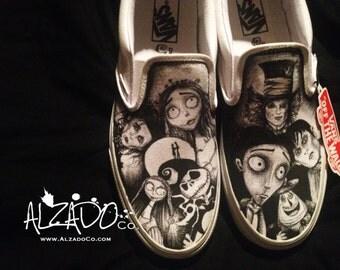 Tim Burton shoes. Johnny Depp, Edward Scissorhands, Corpse Bride, Nightmare before christmas